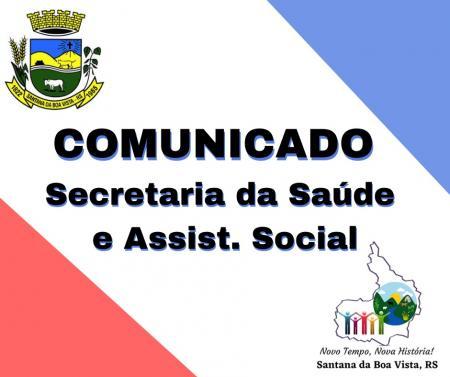 COMUNICADO SECRETARIA MUNICIPAL DE SAÚDE