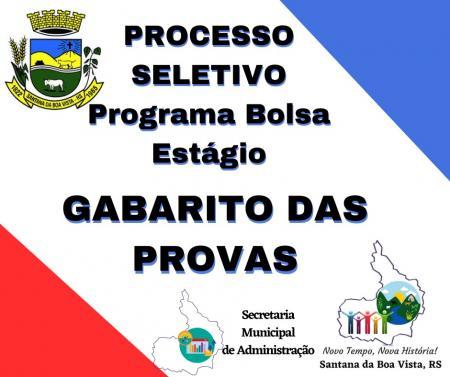 GABARITOS PROCESSO SELETIVO BOLSA ESTÁGIO