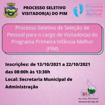 Processo Seletivo Visitadores PIM